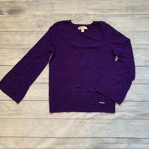 Michael Kors bell sleeved purple sweater size xs